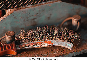Work tool metal brush for grinding. Object photo.