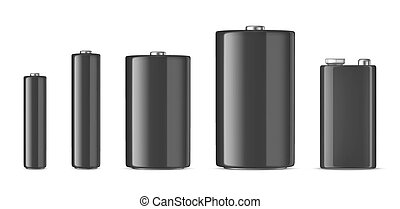 Vector realistic black alkaline batteriy icon set. Diffrent...