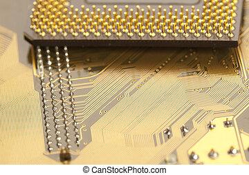 A close up of a computer circut