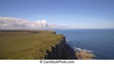 Aerial, Dunnet Head Coastline, Scotland - Native Version -...
