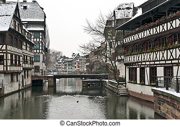 Old half-timbered houses in winter - Strasbourg old...