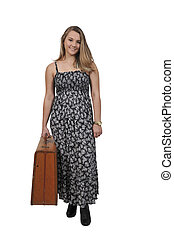 Woman on or going on vacation - Beautiful young woman going...