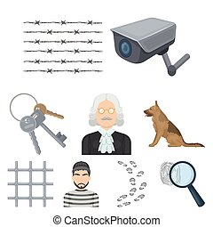 Set of images about the prison and prisoners. Surveillance...