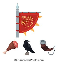 Sitting crow, horn with drink, ham, victory flag. Vikings set collection icons in cartoon style vector symbol stock illustration web.