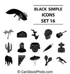 Mexico country set icons in black style. Big collection of...