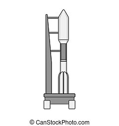 Space launch vehicle at launch. Space technology single icon...