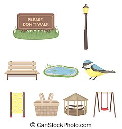 Park set icons in cartoon style. Big collection of park...