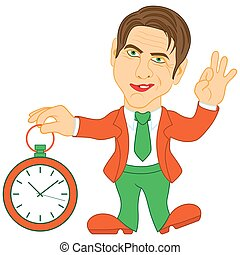 Gentleman holds a clock in his hand and gesticulate a sign...