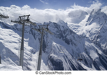 Ski resort - Ropeway at ski resort. Caucasus Mountains....