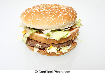 Popular fast food hamburger on white background.