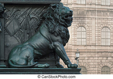 Lion on the Monument of Maximilian Joseph at the National...