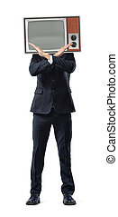 A businessman with hands in negative gesture and a retro TV screen in place of his head.