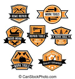 Hardware work tool isolated icons - Work tool symbols and...