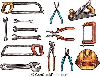 Hand tool, work instrument isolated sketches - Hand tool...