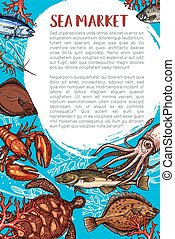 Seafood market and fish restaurant poster - Seafood market...
