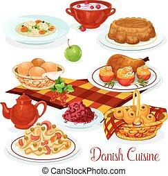 Danish cuisine dishes for menu design - Danish cuisine food...
