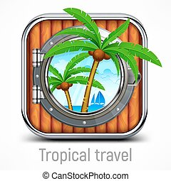Tropical travel concept, round-the-world trip. Vector...