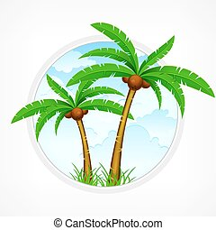 Tropical palm trees again sky - Tropical palm trees with...