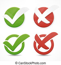 Checkmark - Green and red checkmark on white. Vector...