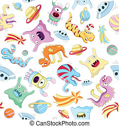Vector seamless background with monsters