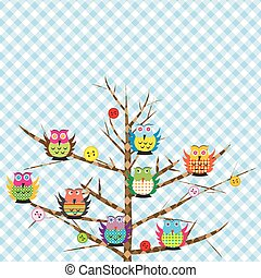 Patchwork with cartoon owls