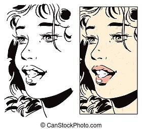 Portrait girl. Stock illustration. - Stock illustration....
