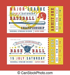 Template for vintage baseball ticket. Graphic design with...
