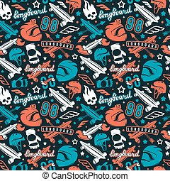 Seamless pattern with image of longboarding equipment. Color...