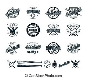 Set of baseball and softball badges. Graphic design for...