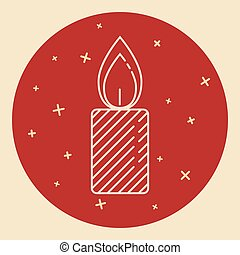Christmas candle icon in thin line style. Traditional symbol...
