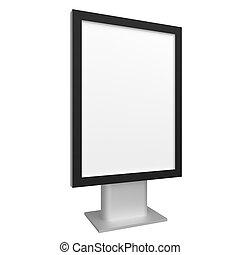 Blank 3D illustration city light with black frame mock-up. -...