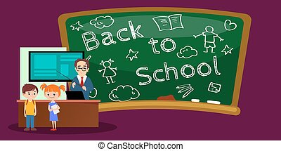 Lesson in classroom at school or college, teacher explains lesson near desk in front of students, Children sit on chairs at their desks table to listen teacher, education concept vector illustration