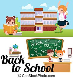 Back to school concept, Lesson in classroom at college, teacher explains to Childrens lesson near desk in front of students, school building education concept vector illustration, campus life