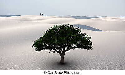 Oasis - Surrealism. Green tree in white desert. Two men on a...