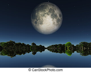 Moonrise over water