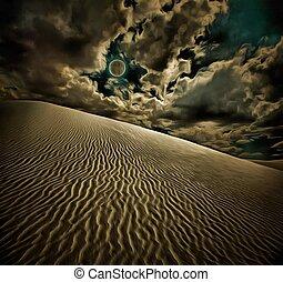 Dunes - Surreal digital art. White sand dunes. Full moon in...