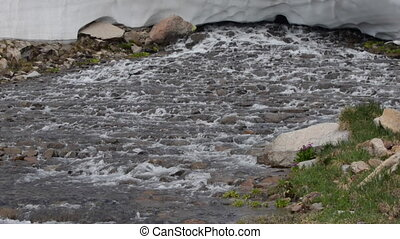 Blue Lake Outlet Melting Snow Colorado Landscape Mt Toll...