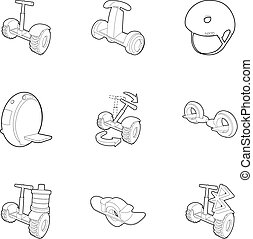 Segway icons set, outline style - Segway icons set. Outline...