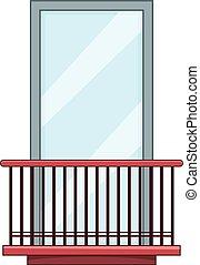 Narrow balcony icon, cartoon style - Narrow balcony icon....
