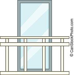 Retro balcony icon, cartoon style - Retro balcony icon....