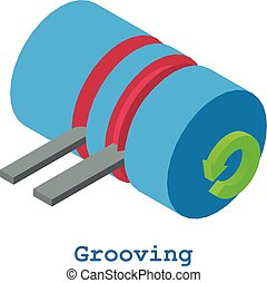 Grooving metalwork icon, isometric 3d style - Grooving...