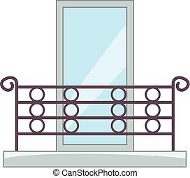 Beautiful balcony icon, cartoon style - Beautiful balcony...