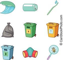 Garbage type icon set, cartoon style - Garbage type icon...