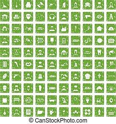 100 different professions icons set grunge green - 100...