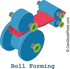 Roll forming metalwork icon, isometric 3d style - Roll...