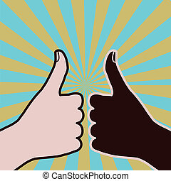 Diversity thumbs-up - Two races approve by giving it their...