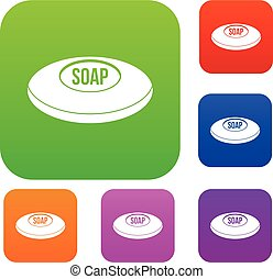 Soap set color collection - Soap set icon color in flat...