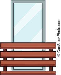 Wood balcony icon, cartoon style - Wood balcony icon....