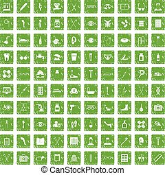 100 disabled healthcare icons set grunge green - 100...