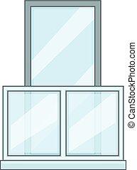 Balcony icon, cartoon style - Balcony icon. Cartoon...